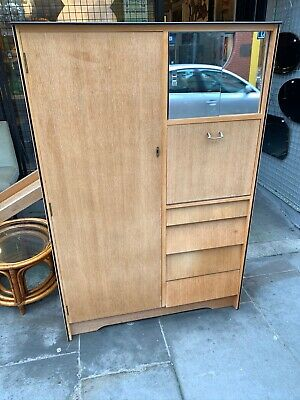 2 X Retro Avalon Tallboy Wardrobes light oak chest drawers, compactium.