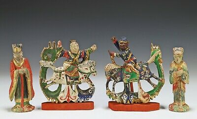 Lot of 4 Old Chinese Carved Hand Painted Wood Statues