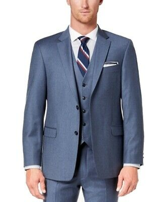 Tommy Hilfiger Men Suit Separates Blue Size 46 Two Button Twill Stretch $165 168