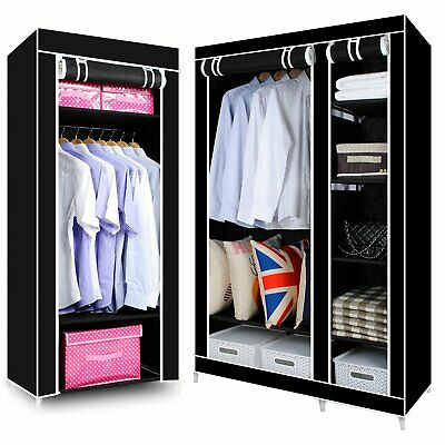Single Double Black Canvas Wardrobe with Hanging Rail Furniture/Bedroom
