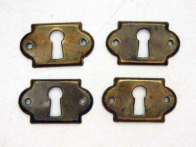 Old Antiques Set of 4 Matching Small Brass Key Escutcheons Original Patina