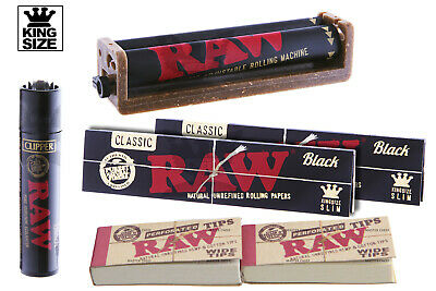 AUTHENTIC RAW BLACK (6PC) BUNDLE KING-SIZE ROLLING MACHINE+PAPERS+TIPS+Lighter