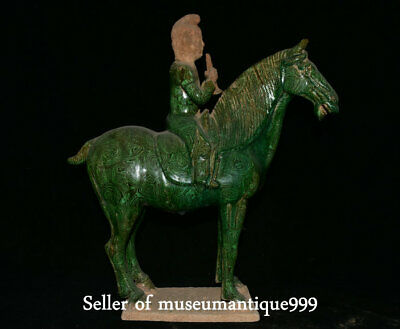 """19.2"""" Old Chinese Tang Sancai Porcelain Dynasty Music Man Ride Horse Sculpture"""