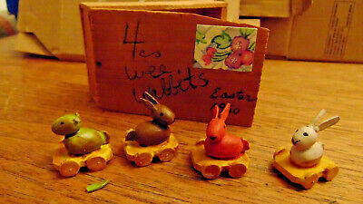 3 Tiny carved wooden vintage 1950 Easter Bunny tiny figures on little wagons