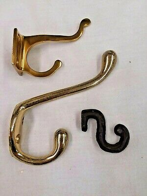 Lot of Vintage Brass and Cast Iron Coat Hooks