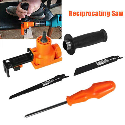 Reciprocating Saw Attachment Electric Drill 2 Blades Woodworking Cutting Tool