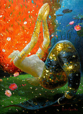Canvas Modern HD Prints oil painting art for living room Home Decor Mermaid ry33