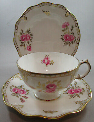 Royal Crown Derby Pinxton Roses Trio - Cup Saucer and Small Plate