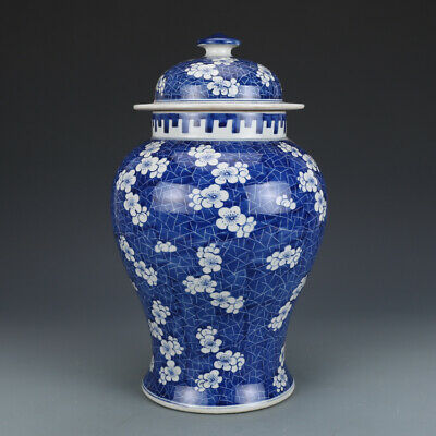 Fine Old Chinese Qing Blue&white Porcelain plum blossom General canister