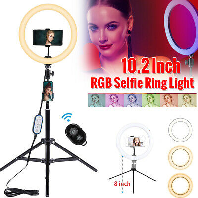 "10"" Dimmable Selfie LED Ring Light Phone Camera Live Makeup Lamp Tripod Stand"