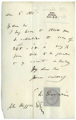 """Charles Darwin - Letter Signed - re/ His New Published Work """"The Descent of Man"""""""