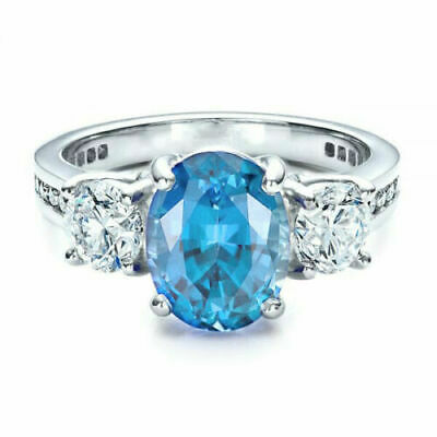 Elegant 925 Silver Wedding Rings Women Jewelry Oval Cut Aquamarine Size 6-10