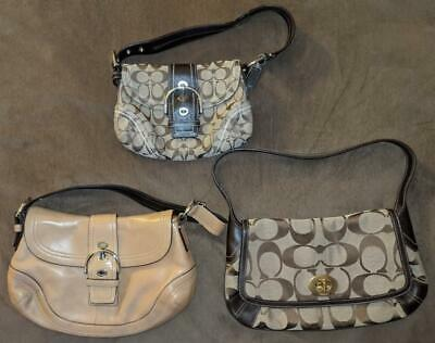 Lot 3 GENUINE Authentic COACH Shoulder Bags Leather Canvas High Quality Purses