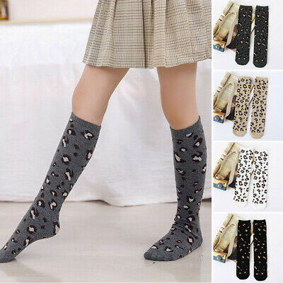 Girls Long Strips School Tights High Knee Stockings Leg Warmer Leopard Socks