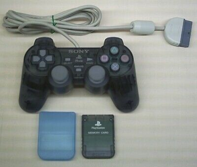 Transparent Black Sony Playstation 1, Psone Dualshock Controller & Memory Card .