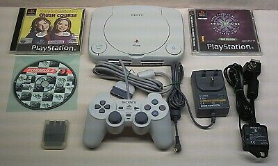 TRANSPARENT GREEN SONY PLAYSTATION 1 PSONE DUALSHOCK CONTROLLER, MEMORY CARD (a)
