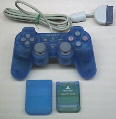 TRANSPARENT BLUE SONY PLAYSTATION 1 PSONE DUALSHOCK CONTROLLER, MEMORY CARD (a)