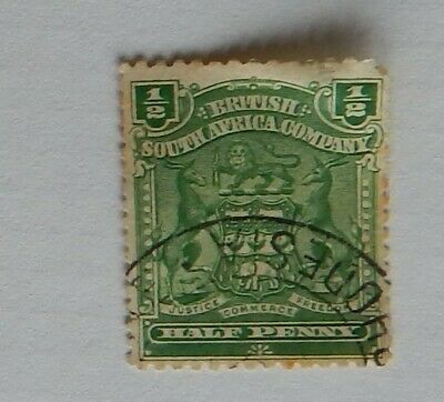 RHODESIA BRITISH SOUTH AFRICA COMPANY 1/2 half penny POSTAGE STAMP USED