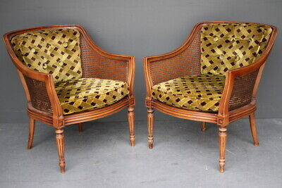 Pair large vintage armchairs French Louis carved walnut fauteuil tub chairs 1960
