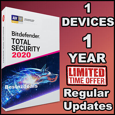 Bitdefender Total Security 2020 - 1 Year For 1 Device - Download