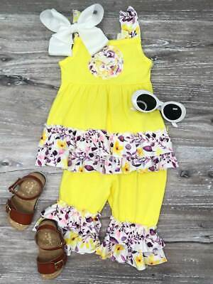 Girls ANN LOREN tropical ruffle swing top dress leggings outfit 12-18 2T 3T NWT