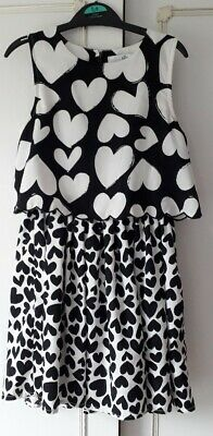 Marks & Spencer Girls Size 6 To 7 Years Black  White Love Heart Overlay Dress !!