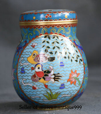 "4.4"" Chinese cloisonne Bronze Dynasty mandarin duck Bird coccoloba toothpick Box"