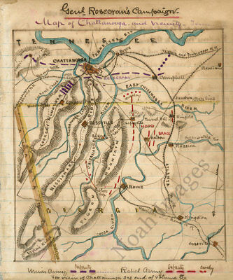 Map of Chattanooga and vicinity TN c1863 repro 10x12