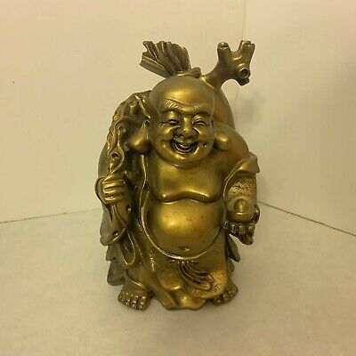 Laughing Buddha - Lucky and Happiness - 10 Inches Tall - Gold Fortune