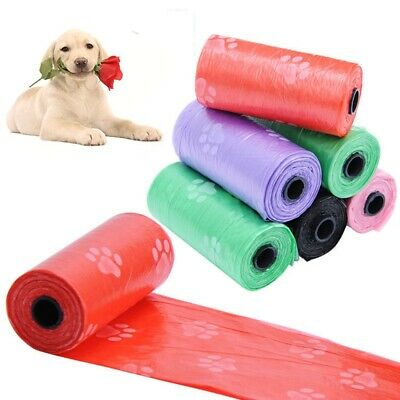 5 Roll Plastic Pet Dog Poop Bags Dog Waste Bag Paw Printing Pet Accessories x