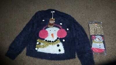 Next Girls 7 Years Navy Snowman Fluffy Jumper & Matching Tights Pink Headphones