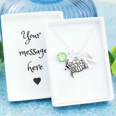 Turtle Necklace, Personalised Gift, Initial And Birthstone, Cute Ocean Jewellery
