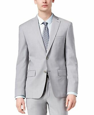 DKNY Mens Blazer Gray Size 36 Short Two Button Wool Modern Fit Notched $525 360