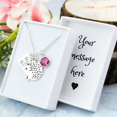 Hedgehog Necklace, Personalised Gift, Initial And Birthstone, Cute Jewellery