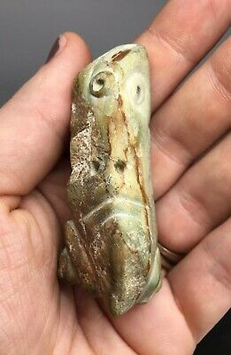 Rare Pre-Columbian Green Stone Frog ZOOMORPHIC Effigy - Carved Ancient