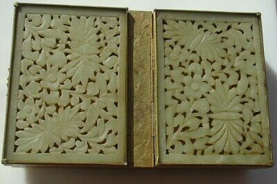 Vintage Chinese Export Carve Jade Brass Cigarette Playing Card Box Made in China