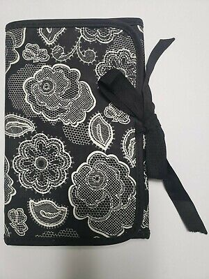 NWOT Thirty-One Botanical Lace Fold and Go w/Notepad Tie Closure Black White