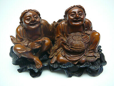Extra fine Chinese HuangYang wood carving of HeHe Erxin on original stand 18th C