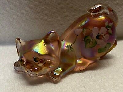 Fenton Iridescent Pink Hand Painted Floral Artist Signed Crouching CAT