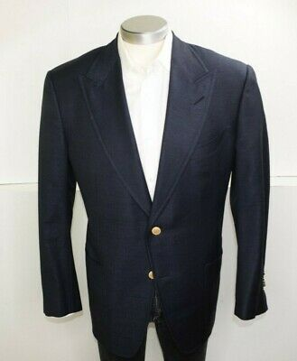 RECENT Tom Ford Navy Peak Lapel Wool Mohair Silk Mens Gold Button Blazer 44R