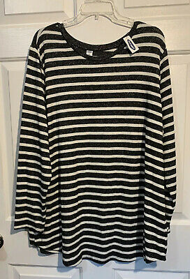 Old Navy Black & White Striped Long Sleeve Relaxed Top NWT 3X