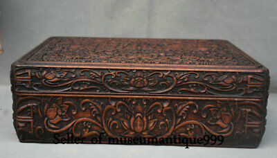 36CM Ancient China Huanghuali Wood Dynasty Carved Flower square Box cabinet