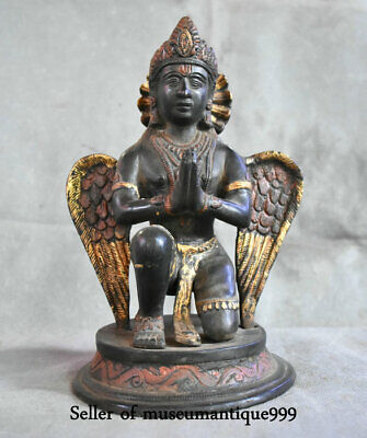 Old Tibet Bronze Painted Redpoll Winged Garuda Bird Eagle Buddha Blessing Statue