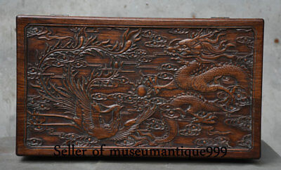 "18"" Big Old Chinese Huanghuali Wood Dynasty Carving Dragon Phoenix Box Cabinet"