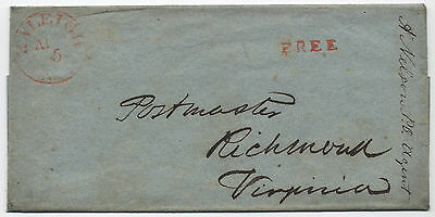 """Early 1840s Raleigh NC stampless free frank of """"P.O. Agent"""" A. Nelson"""