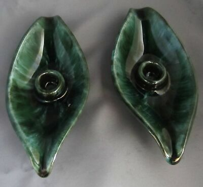 Vtg Blue Mountain Pottery BMP Genie Leaf Taper Green Drip Candle Stick Holders