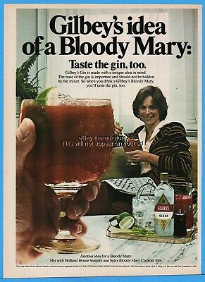 1980 Gilbey's Gin Bloody Mary cocktail crossword puzzle relax photo print ad