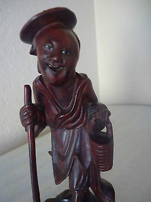 """Vintage Chinese Hand Carved Red Wood Wise Man Figurine Statue 6""""large"""