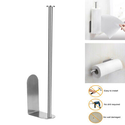 Adhesive Paper Towel Holder Wall Mounted Rack Bathroom Kitchen Stand Shelf S4V0