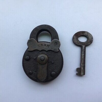 An Old Or Antique Iron Miniature Padlock Lock With Key D R G M